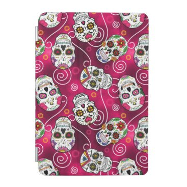 Sugar Skulls and Swirls Rose Red D725 iPad Mini Cover