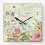 Summer at the Cottage Roses Bicycle Butterfly Bees Square Wallclock
