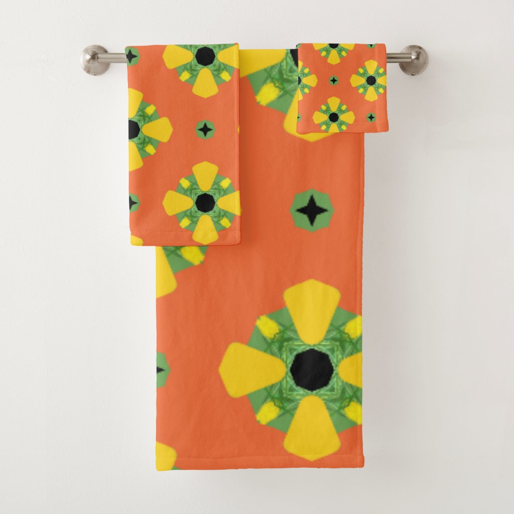 Summer Bright Orange Yellow Green Diamond Pattern Bath Towel Set