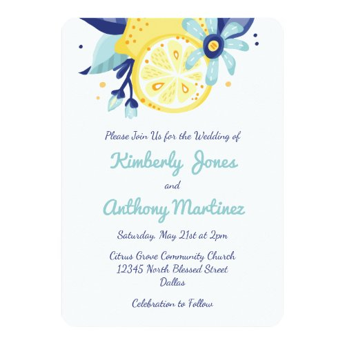 Summer Citrus and Floral Wedding Card