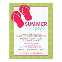 Summer Fun Picnic/BBQ Invitation (green/pink)