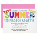 Summer Party, School's Out Bright Colors Invitation