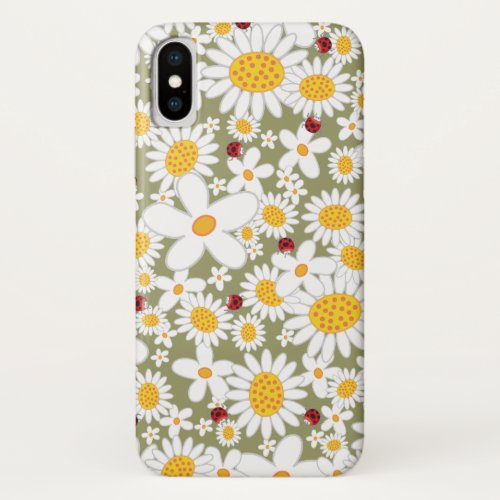 Summer White Daisies and Whimsical Red Ladybugs iPhone X Case