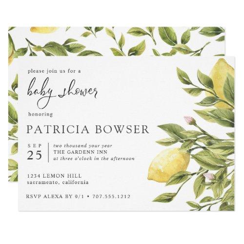 Summery lemon leaves Baby Shower custom 2 Invitation