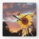 SUNFLOWER AND SUMMER SUNSET WITH PINK CLOUDS SQUARE WALL CLOCKS