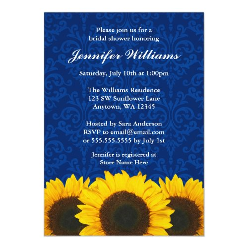 Sunflower Blue Damask Bridal Shower Invitation