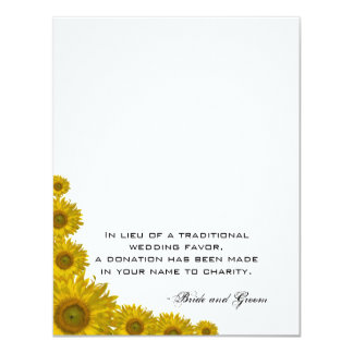 Sunflower Edge Wedding Charity Favor Card