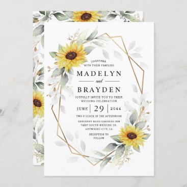 Sunflower Elegant Rustic Geometric Gold Wedding Invitation