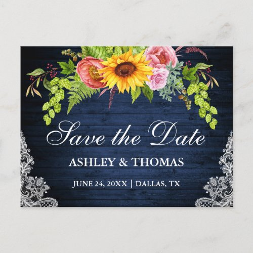Sunflower Floral Blue Wood Lace Save The Date Invitation Postcard
