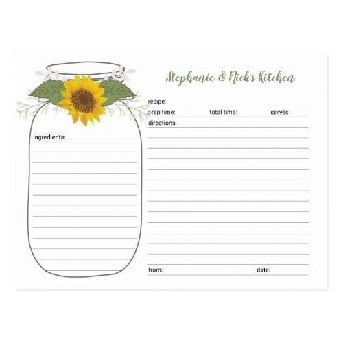 Sunflower Mason Jar Bridal Shower Recipe Cards