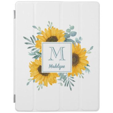 Sunflower Monogram Name Personalized iPad Smart Cover