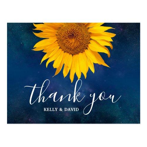Sunflower Navy Blue Summer Wedding Thank You Postcard