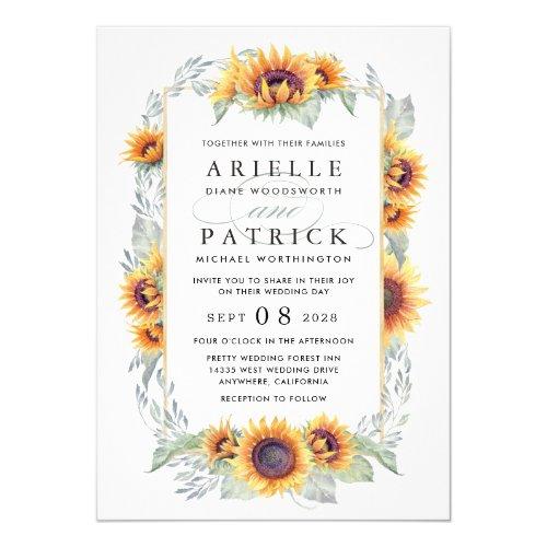 Sunflower Vintage Watercolor Wedding Invitations