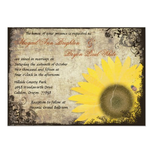 Sunflower with Ladybug Vintage Wedding Invitation