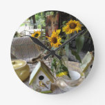 Sunflowers and Bird House Complete Autumn Display Round Clock