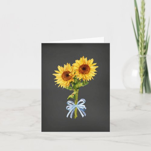 Sunflowers on Black All Occasion Note Card