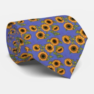 Sunflowers on Blue Tie