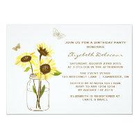 Sunflowers on Mason Jar Birthday Party Invitation