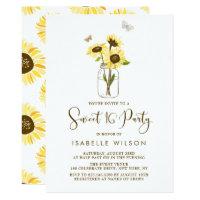 Sunflowers on Mason Jar Summer Sweet Sixteen Party Card