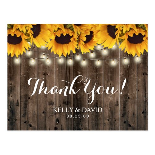 Sunflowers String Lights Country Wedding Thank You Postcard