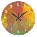 Sunny Yellow Orange Green Rustic Grunge Abstract Wall Clock