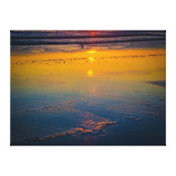 Sunrise Reflecting on the Beach & Coastline Gallery Wrapped Canvas