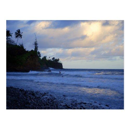 Sunset Hawaiian Surfers Postcard