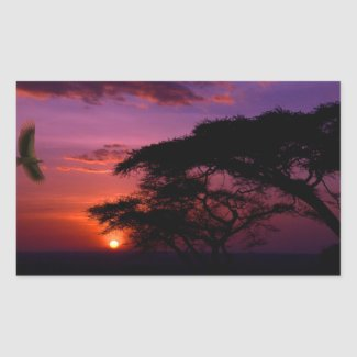Sunset in Serengeti, Tanzania Rectangular Sticker