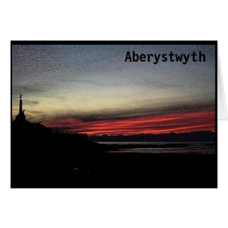 Sunset over the sea in Aberystwyth card