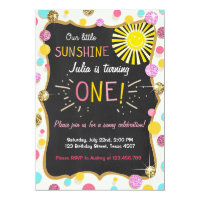 Sunshine Lemonade Birthday Party Invitation Pink