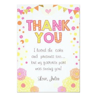 Sunshine Lemonade Birthday Thank You Card Girl