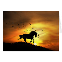 Super Cute Unicorn Running in the Sunrise Birthday Card