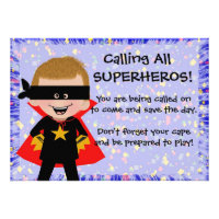 Cute Superhero Party Invitations For Kids