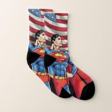 Superman Holding US Flag Socks