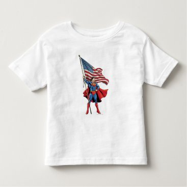 Superman Holding US Flag Toddler T-shirt