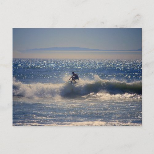 Surfer in Huntington Beach, California Postcard postcard