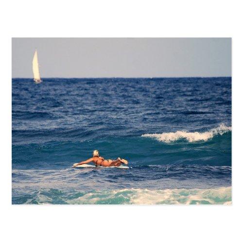 Surfer Paddling Out Postcard