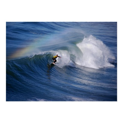Surfing Under A Rainbow Print print