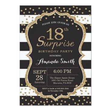 Surprise 18th Birthday Invitation. Gold Glitter Card