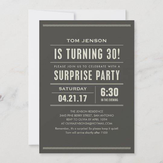 surprise 30th birthday invitations zazzle com