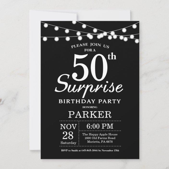 Surprise 50th Birthday Invitation Black And White Zazzle Com