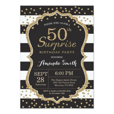 Surprise 50th Birthday Invitation. Gold Glitter Invitation