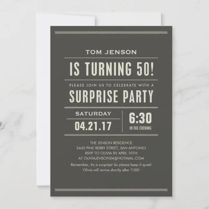 Surprise 50th Birthday Party Invitations Zazzle Com