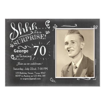 Surprise birthday invitation 70 Chalkboard Rustic