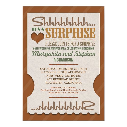 Surprise Wedding Anniversary Beautiful Invitations