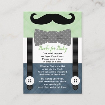 suspenders baby shower boy green navy book request enclosure card