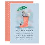 Swan & Baby Cygnet Pink & Blue Rain Baby Shower Invitation