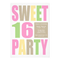 Sweet 16 Block Letter Birthday Party Invitations