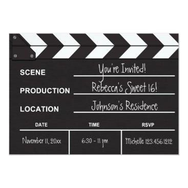 Sweet 16 movie clapboard invitation