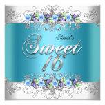 Sweet 16 Sweet Sixteen White Blue Purple Flowers Personalized Invite